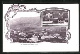 AK Malleray-Bévilard, Bahnhof, Ortsansicht Aus Der Vogelschau, Jugendstilrahmen - BE Berne