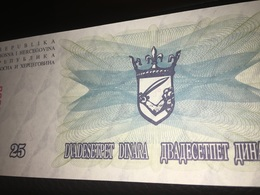 See Photos. Bosnia Herzegovina 25 Dinara Year 1992 Uncirculated Banknote - Bosnië En Herzegovina
