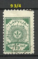 LETTLAND Latvia 1919 Michel 5 A With Perf 9 3/4 At Upper Margin O - Lettland