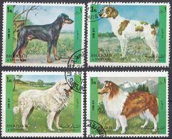 SHARJAH - 1972 -Serie Completa Usata Michel 1292/1295, 4 Valori, Raffiguranti Cani. - Sharjah