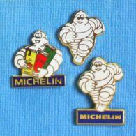 3 PIN'S //  ** BIBENDUM MICHELIN / PNEUMATIQUES & CARTES ROUTIERES ** . (Fraisse) - Autres