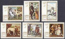 AJMAN - 1968 -Serie Completa Nuova MNH, 6 Valori Raffiguranti Quadri Con Cani, Yvert Posta Aerea 32. - Ajman