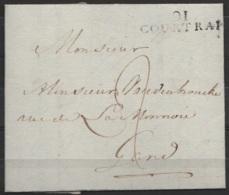 """L. Datée 1809 De COURTRAI Pour GAND - Griffe """"91/COURTRAI"""" - Port """"2"""" - 1794-1814 (Période Française)"""