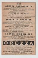 Nice 1902 Agence Cosmopolite Niçoise Location Continentale Immobilière Orezza Pau Gassion Bourdila Meillon Séghin - Advertising