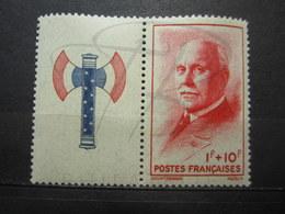 VEND BEAU TIMBRE DE FRANCE N° 570 + VIGNETTE , XX !!! (a) - 1941-42 Pétain