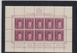 GG Generalgouvernement MiNr. 104 **, Kleinbogen I/3, Ohne Plattenfehler - Occupazione 1938 – 45