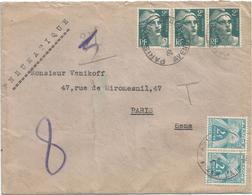 GANDON 2FR BANDE DE 3 PNEUMATIQUE PARIS 1945 + TAXE 2FR PAIRE - 1945-54 Marianne Of Gandon