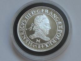HENR III - FRANC AU COL FRAISE   -  Magnifique Reproduction En Argent   **** EN ACHAT IMMEDIAT **** - 987-1789 Monnaies Royales