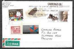 USED AIR MAIL COVER CANADA TO PAKISTAN OWL ,BIRD - Other