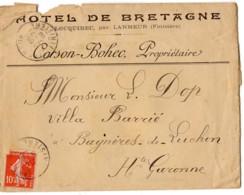 LANMEUR Finistere Cachet R84c A3 1908 Semeuse 10c Rouge YT138, Enveloppe 'hotel De Bretagne' Corson Brohec Propriétaire - Marcophilie (Lettres)