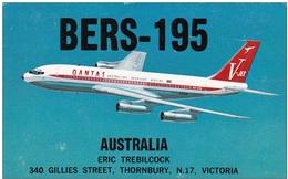 QSL Card Amateur Radio CB Funkkarte 1 January 1967 Qantas Empire Airways Australia Aviation Airplane Boeing 707 V Jet - Radio Amateur