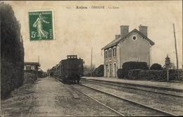 Cp Anjou Maine Et Loire, La Gare - Francia