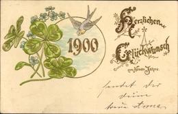 Gaufré Lithographie Glückwunsch Neujahr, Kleeblätter, Vergissmeinnicht, Schwalbe - New Year