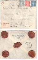 LYON GROLEE Lettre CHARGE Entête GOIRAND Dest Agde Hérault Semeuse Lignée 50c 1F Camée 40c  Yv 199 205 237Ob 1930 - Covers & Documents