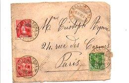 SUISSE AFFRANCHISSEMENT COMPOSE SUR DEVANT DE LETTRE DE BELLINZONA POUR LA FRANCE 1909 - Schweiz