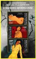 Bloc Feuillet Oblitéré De 3 T.-P.  La Commémoration Des 95 Ans De La Disparition D'Amadeo Modigliani - Centrafrique 2015 - República Centroafricana