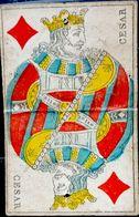 CARTE A JOUER ANCIENNE 18° SIECLE CESAR ROI DE CARREAU PLIURE AU CENTRE TROU D'ATTACHE - Kartenspiele (traditionell)