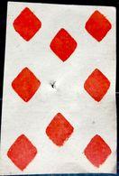 CARTE A JOUER ANCIENNE 18° SIECLE  8 DE CARREAU TROU D'ATTACHE - Kartenspiele (traditionell)