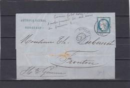 CAD  BORDEAUX  + LAC+  N°60C -pour FRONTON -31 MARS 1876 - REF 1338 + Variété - Marcophilie (Lettres)