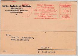 """DR - Aussig 1942 6 Pfg. AFS """"Klostergeheimnis"""" (Likör), Karte N. Millay - Germany"""