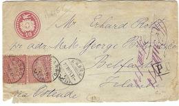 SUISSE:  LAC (entier Postal 5c.) De Aarau Du 20 Juil.1874 Pour L'Irlande, Beaux CAD B à TB - Brieven En Documenten