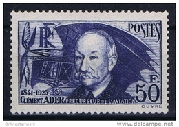 Timbre De France N°398 De 1938 Clément Ader Neuf** - Unused Stamps
