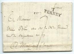 MARQUE POSTALE FERNEY AIN 1816 POUR MONTPELLIER / TAXE  / ECRITE DE GENEVE SUISSE - 1801-1848: Precursori XIX