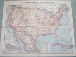Carte Des Etats-Unis D'Amérique - 1 / 9 500 000ème - 1918. - Cartes Géographiques