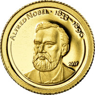 Monnaie, Mongolie, Alfred Nobel, 500 Tugrik, 2007, FDC, Or - Mongolia
