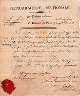 1793 GENDARMERIE NATIONALE - Certificat De Présence Avec Entête Imprimé 32° Div.Mre/2° Division De Paris - Documents Historiques