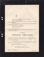 WIEKEVORST ITEGEM Franz HEYLEN 1855-1927 Famille LEEMANS BROOS VAN WTBERGHE - Décès
