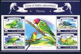 Bloc Sheet Oiseaux Perroquets Birds Parrots Neuf  MNH **  Maldives 2015 - Parrots