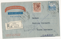 5-4-1960 AEREOGRAMMA FDC VIAGGIATO RACCOMANDATO X ESTERO - 6. 1946-.. Repubblica