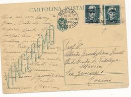 1944 RSI REPUBBLICA SOCIALE MODENA CARTOLINA POSTALE VINCEREMO CON EFFIGE VITTORIO RICOPERTA CO 0,15 CENT IMPERIALE - 5. 1944-46 Lieutenance & Humbert II: