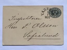SWEDEN 1897 Fyra Ore Pre-paid Envelope Vadsbro To Sofielund - Sweden