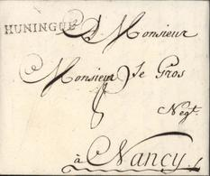 68 Haut Rhin 35x4 Noir HUNINGUE Lenain N5 Mulhouse 8 Fev 1766 Taxe Manuscrite 8 Pour Nancy I13 110 Euros - Postmark Collection (Covers)