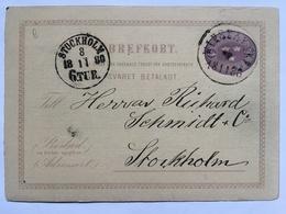 SWEDEN 1880 Sex Ore Pre-paid Postcard To Stockholm - Sweden