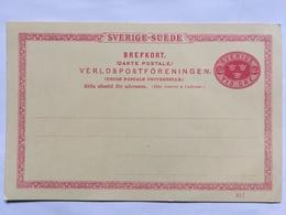 SWEDEN Early Pre-paid Postcard Tio (10) Ore Rate Unused - Verldspostforeningen - Suède