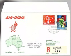 1963 1st Flight Genève Air India > Sydney Australia (868) - Switzerland