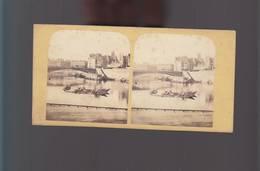 PS- Photo Stéréo Circa 1880 / Paris / Rare Panorama Bateaux Sur La Seine - Photos Stéréoscopiques
