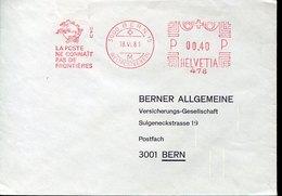 52840 Switzerland, Red Meter Freistempel,ema, Bern 1981 UPU Union Postale Universale, Circuled Cover - Affrancature Meccaniche