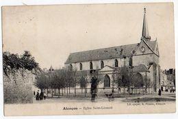 ALENCON-- 1908 - Eglise St Léonard  (petite Animation) .......à Saisir - Alencon