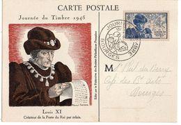 1945--carte-Maximum  Journée Du Timbre 1945 -roi  LOUIS XI --cachet BOURGES -18   .......à Saisir - Maximumkarten