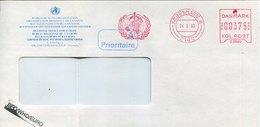 52851 Danmark, Red Meter Freistempel Ema,1993 Kobenhanv WHO World Health Organ.Organ Mondiale Santè, - Affrancature Meccaniche Rosse (EMA)
