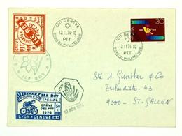 Lettre 1974 Greve PTT 1974 Lyon - Geneve, Courrier Spécial ILE ROY, Deux Vignettes - Grève