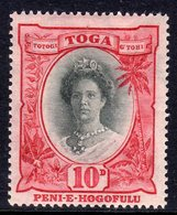 Tonga 1920 10d Queen Salote Definitive, Small Second 'O' In Hogofulu, Lightly Hinged Mint, SG 62b (BP) - Tonga (...-1970)