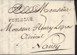 68 Haut Rhin 33x4 Noir HUNINGUE Lenain N4 Mulhouse 14 Avril 1764 Taxe Manuscrite 7 Pour Nancy I15 160 Euros - Postmark Collection (Covers)
