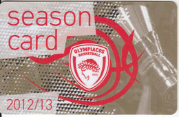 GREECE - Olympiacos BC, Season Ticket 2012-2013, Unused - Sport
