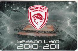 GREECE - Olympiacos BC, Season Ticket 2010-2011, Unused - Sport