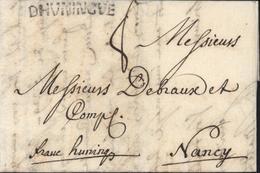 68 Haut Rhin Marque Postale DHVNINGVE 38 X 5 Noir Lenain N3 HUNINGUE 2 Août 1753 Manuscrit Franc - Postmark Collection (Covers)
